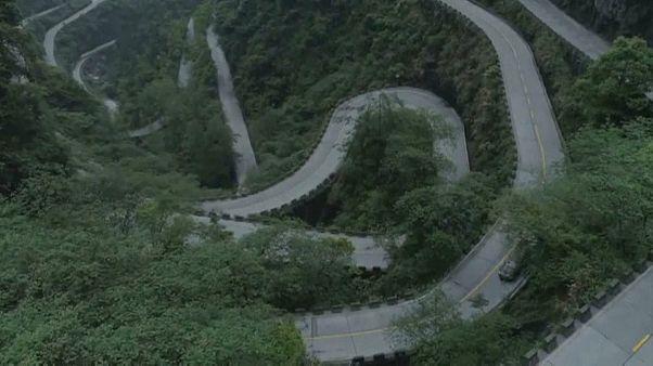 Tianmen dağlarında kaykay keyfi