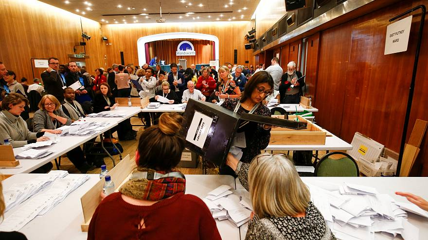 Volunteers count ballot papers in Wandsworth, London, May 3, 2018