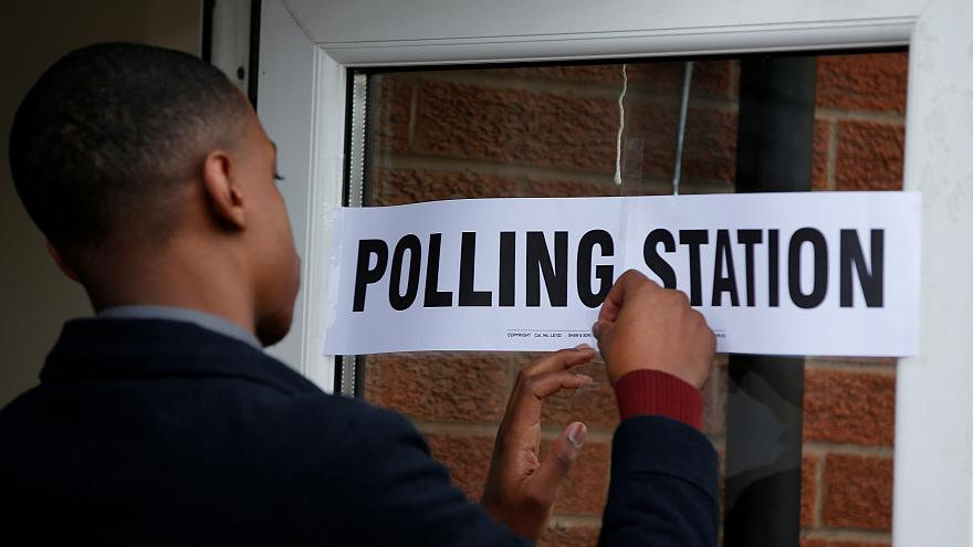 A polling station in Manchester, UK, May 3, 2018.