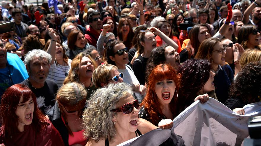 Protesters decry verdict in Pamplona's Wolf Pack case.