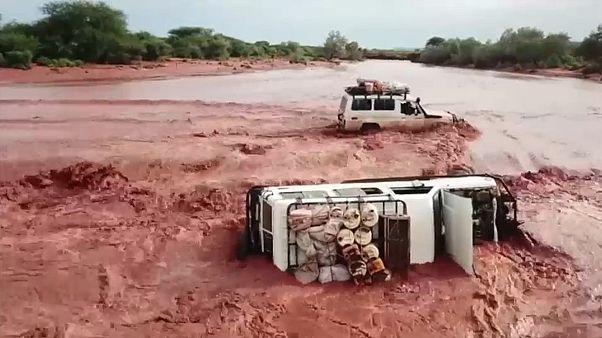 Umgekippter Wagen in Kenya