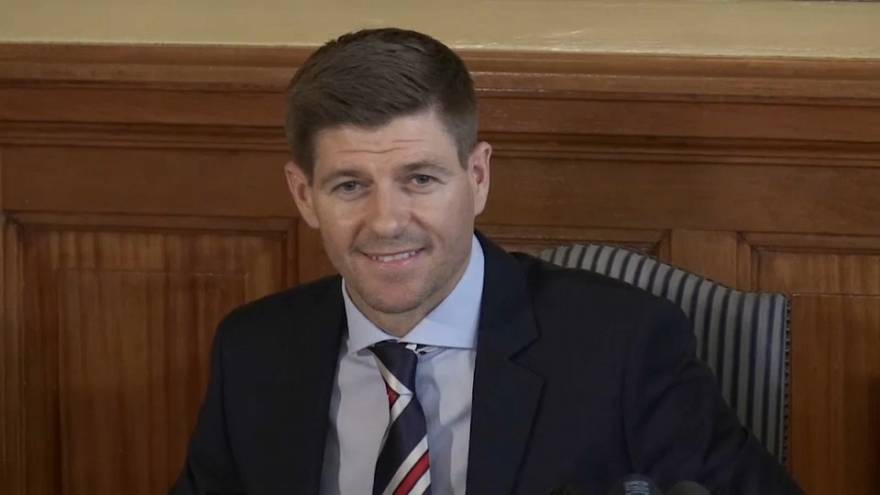 Steven Gerrard holds his first press conference as Rangers boss