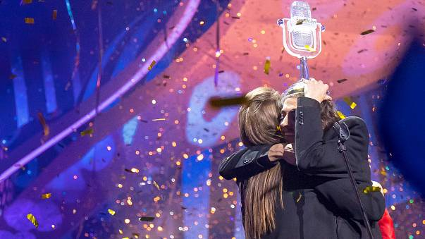 Salvador Sobral gets the trophy in the 2017 Eurovision