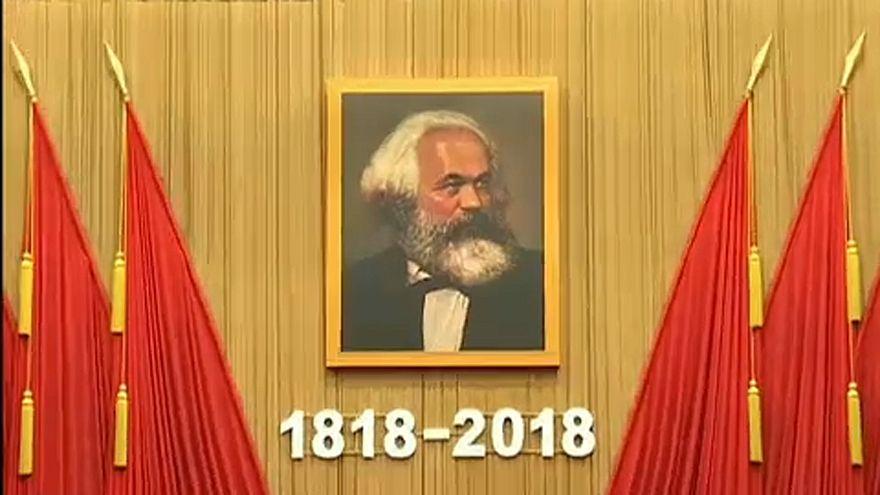 Imagem de Karl Marx no Grande Palácio do Povo na China