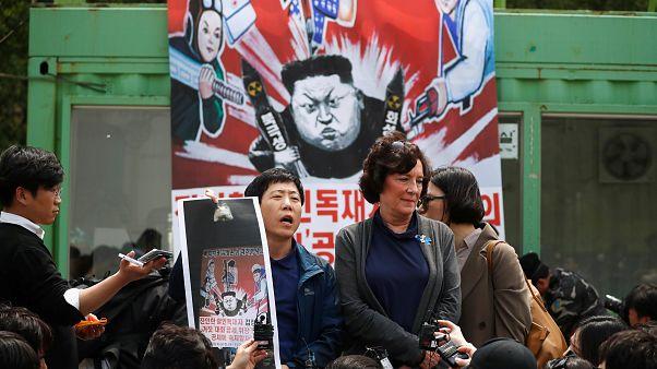 Anti-Nordkorea-Proteste im südkoreanischen Paju