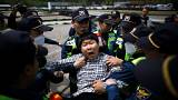 مناوشات بين محتجين عند المنطقة الحدودية بين الكوريتين