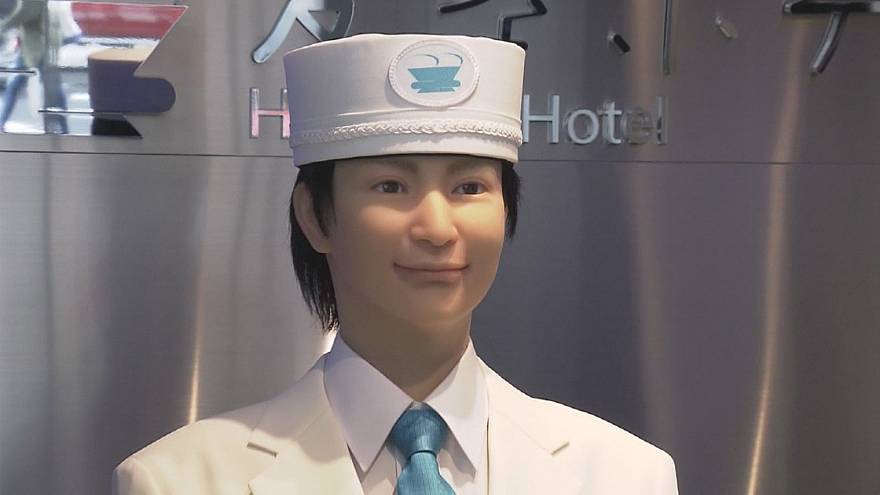 Robots and AI welcome guests at a hotel in Tokyo