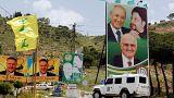 لافتات صور لمرشحي المجلس النيابي في لبنان في منطقة مرجعيون