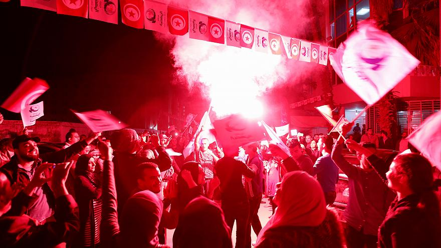 Ennahda party supporters celebrate victory