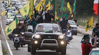 شادی طرفداران گروه حزب الله لبنان پس از پیروزی در انتخابات پارلمانی لبنان