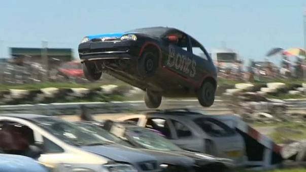Watch contestants crash and bang vehicles at the 2018 Car Jumping Championship