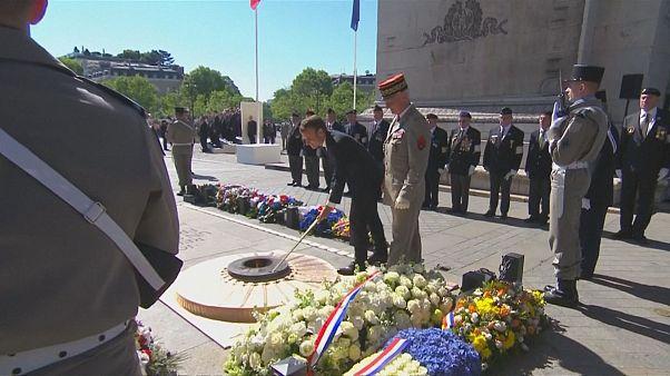 Emmanuel Macron celebra vitória dos Aliados na Segunda Grande Guerra