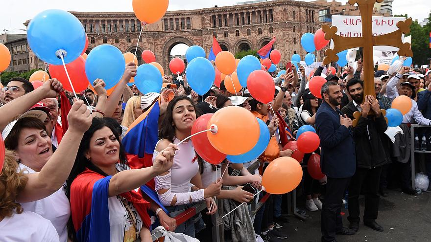 Supporters of Armenia's newly elected prime minister gather in Yerevan
