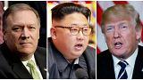 Pompeo, Kim Jong un y Donald Trump
