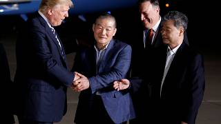 President Trump welcomes the three released detainees