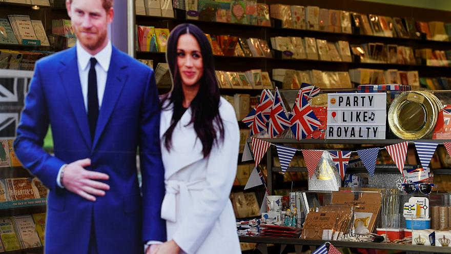 A window display advertising items themed on the forthcoming royal wedding.