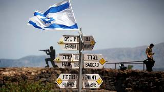 Signs and flag at Golan Heights