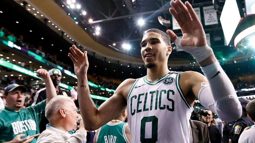 A triumphant Jayson Taytum of the Boston Celtics