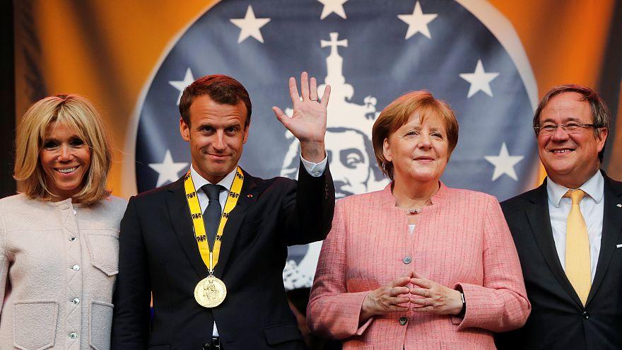 Emmanuel Macron reçoit le Prix Charlemagne