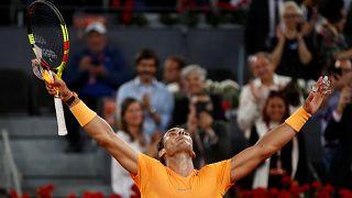 Rafa Nadal celebrates victory over Diego Schwartzman
