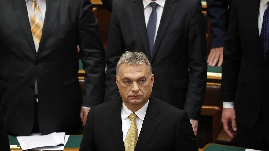 Hungarian Prime Minister Viktor Orban looks on before taking the oath of of