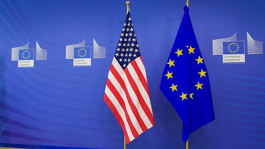 Flags pf the United States and the European Union