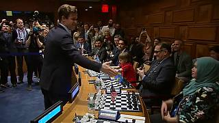 Magnus Carlsen plays the world versus 15 event was held at the UN HQ