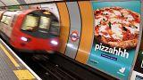 Pizza-Werbung in Londoner U-Bahn