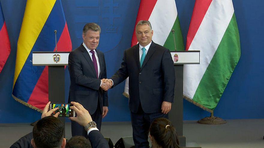Juan Manuel Santos de visita oficial en Hungría
