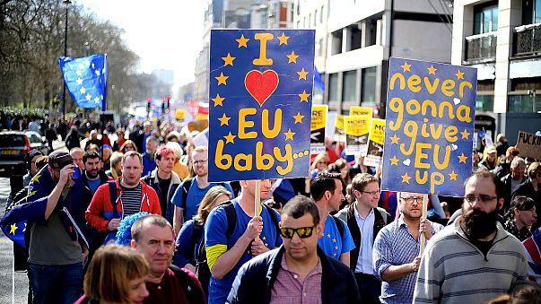 A pro-EU march in London in March 2017.