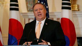 مایک پمپئو، وزیر خارجه آمریکا در کنفرانس مطبوعاتی درباره کره شمالی