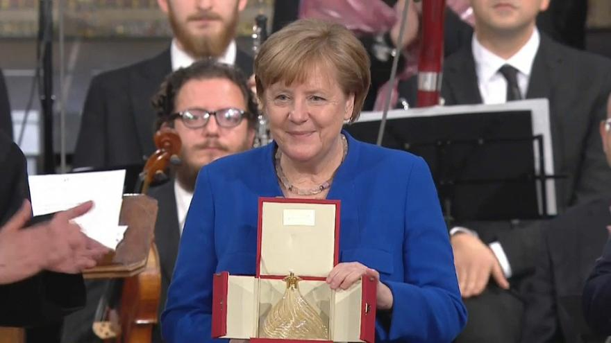 The German Chancellor, Angela Merkel received the 'Lamp of Peace'