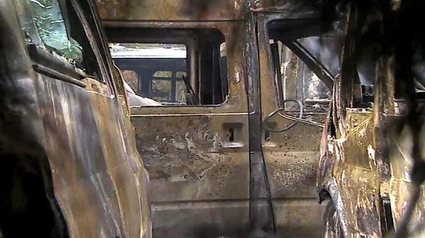 Ambulâncias queimadas em Bilbau