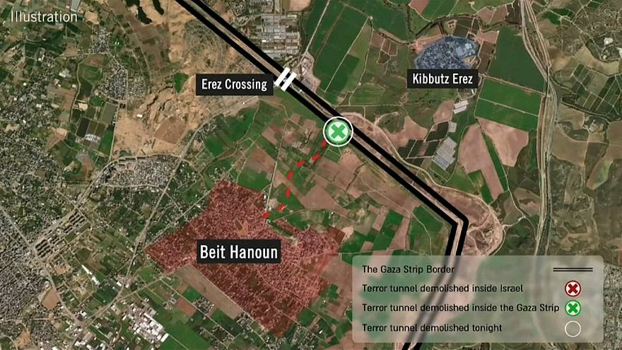 Landkarte des gesprengten Tunnels in Gaza
