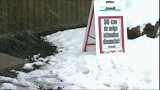 Schnee im französischen Massif central