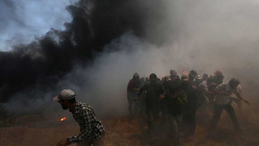 تصاویری از حمله چرخبال های ارتش اسراییل به معترضان فلسطینی