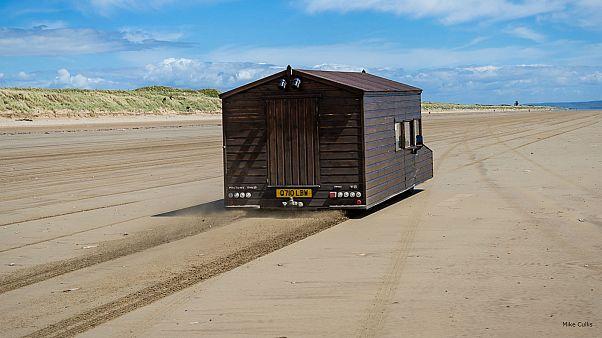 Watch: Motorised shed breaks speed record on Welsh beach