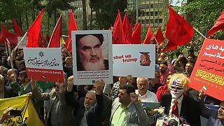 إيرانيون يحتجون أمام السفارة الأمريكية في طهران تضامنا مع الفلسطينيين