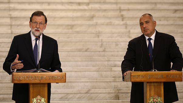 Le Premier ministre espagnol lors d'une conférence de presse à Sofia mardi