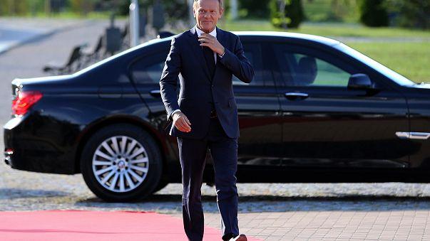 Donald Tusk, az EU Tanácsának elnöke megérkezik a szófiai vacsorára