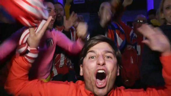 Los fans del Atlético de Madrid, eufóricos en Lyon