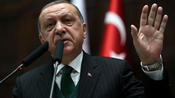 الرئيس التركي رجب طيب إردوغان يتحدث في البرلمان التركي في أنقرة