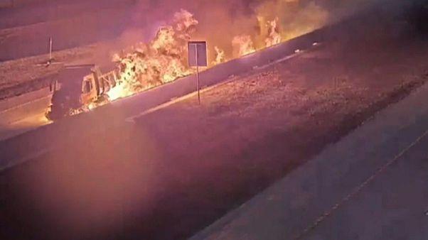 آتش گرفتن یک کامیون حامل سوخت در تگزاس