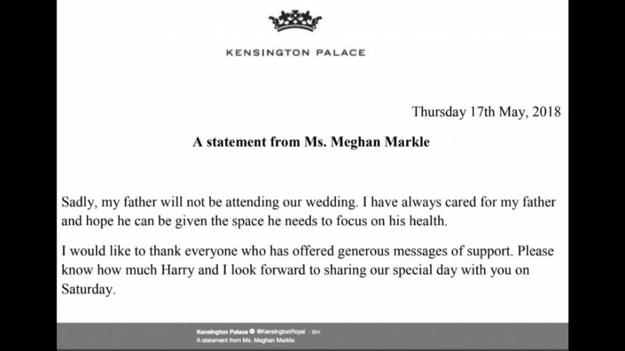 Meghan's father will not be at her wedding