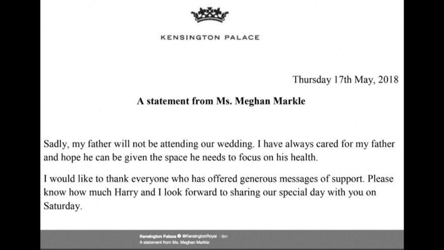 Meghan Markle anuncia que su padre no irá a su boda