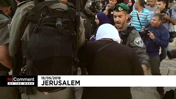 مواجهات بين القوات الاسرائيلية وامرأة في القدس