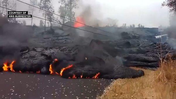 Hawaii's Kilauea volcano sends lava onto the streets