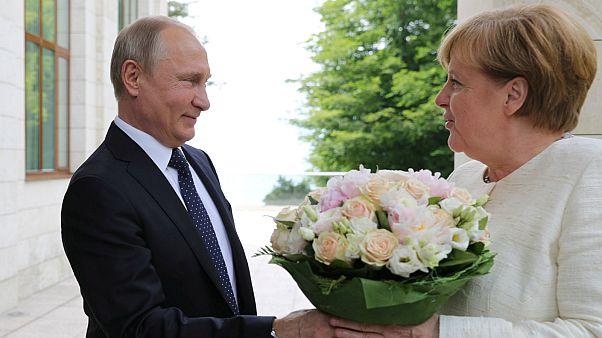 Putin e Merkel ultrapassam divergências em prol de economia forte