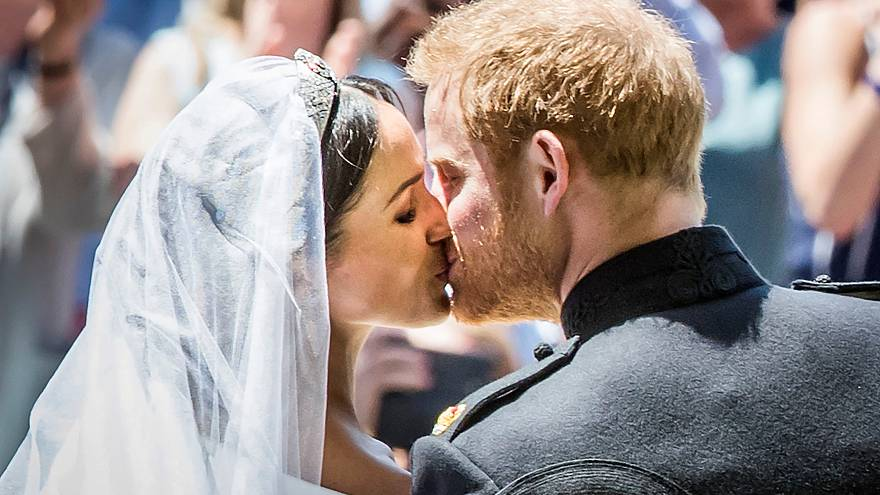 Meghan and Prince Harry kiss after their wedding