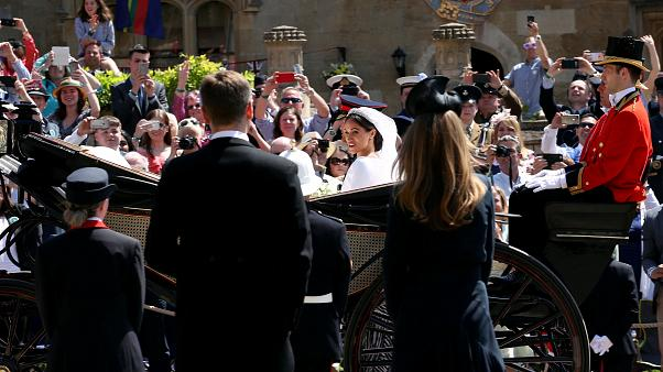The newlyweds leave St George's Chapel in Windsor